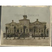1875 Press Photo Students behind wooden fence at old Second Ward school.