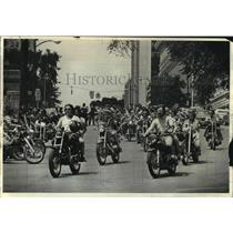 1976 Press Photo Motorcyclists, in front of City Hall, Albany, New York