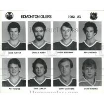 1982 Press Photo Edmonton Oilers Pat Hughes Dave Lumley - RRQ13037