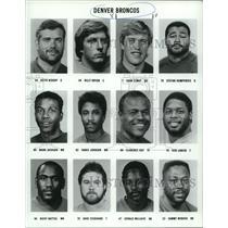 1989 Press Photo Denver Broncos Football Players Team Sheet Roster - nos11615