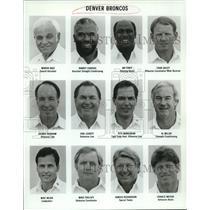 1990 Press Photo Denver Broncos Football Coaches Roster Sheet - nos11616