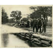 1929 Press Photo Shorewood's new fire department truck at pond was put to test.
