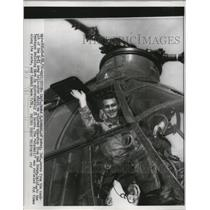 1956 Press Photo Captain James Bowman pilots the H-212 Army Helicopter