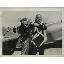 "1942 Press Photo Turkish Pilot wears parachute for the ""Magister"" flight test"