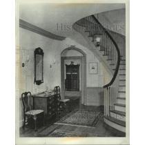 1956 Press Photo Stanley Stone home stairway & antique furniture, Wisconsin