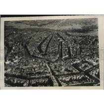 1940 Press Photo Aerial view of Amsterdam, Holland during German Invasion