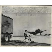 1952 Press Photo Pilotless Navy Hellcats flown by remote control at a base