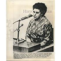 1961 Press Photo Hildegard Henschel testifies at trial of Adolf Eichmann