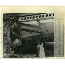 1973 Press Photo Damaged jetliner makes emergency landing at Albuquerque, NM