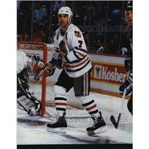 1993 Press Photo Chicago Blackhawks hockey defenseman, Chris Chelios, in action