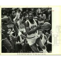 1986 Press Photo San Antonio Spurs and Dallas Mavericks play NBA basketball