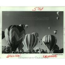 1982 Press Photo People gather to watch hot air balloons lift into the sky