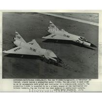 1955 Press Photo new TF-102A trainer jet and a production model F-102A