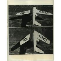 1951 Press Photo View of X-5 First Plane Whose Degree of Wing Sweeps Back