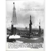 1858 Press Photo Nike missiles displayed on launching pads in West Germany