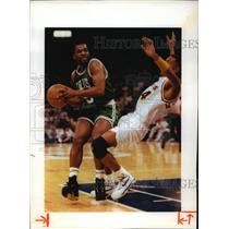 1992 Press Photo Celtics basketball's John Bagley bumps Pacers opponent out