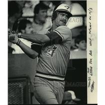 1985 Press Photo Michigan QB turned Toronto Blue Jays baseball player Rick Leach
