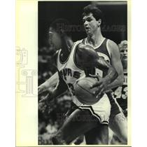 1986 Press Photo San Antonio Spurs and Seattle SuperSonics play NBA basketball