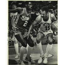 1984 Press Photo Sacramento Kings and San Antonio Spurs play NBA basketball