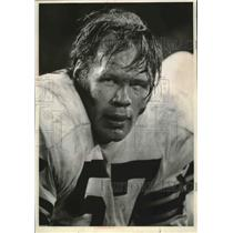1970 Press Photo Green Bay Packers football player, Ken Bowman, back in harness