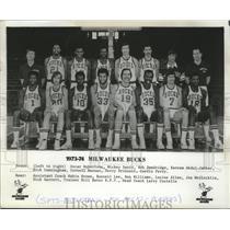 1973 Press Photo The Milwaukee Bucks basketball team for the 1973 - 1974 season
