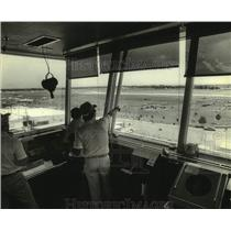 1980 Press Photo view from control tower at Experimental Aviation airshow, WI