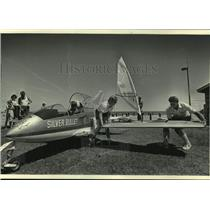 1985 Press Photo Smallest Jet, Silver Bullet, Experimental Aircraft Assoc Fly-in