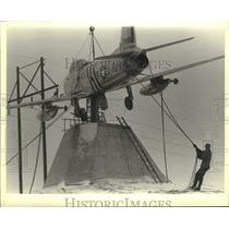 1986 Press Photo F-86 Saber Jet will be permanent display at air museum, Oshkosh