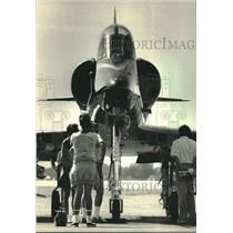 1986 Press Photo Navy Golden Jet at Experimental Aircraft Association Fly-In