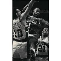 1991 Press Photo Houston basketball forward Buck Johnson during game with Bucks
