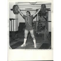 1982 Press Photo Joe Audino lifts 192 3/4 pounds above head at YMCA, Albany,NY