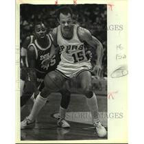 1983 Press Photo Indiana Pacers and San Antonio Spurs play NBA basketball