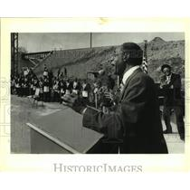 1993 Press Photo Eugene E. Coleman Speaks at Railroad Underpass Dedication