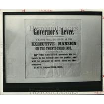 1836 Press Photo Austin Governor's Levee invitation on display at mansion