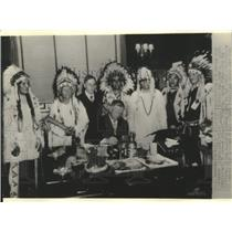1935 Press Photo Chieftains of the Flathead Indian Tribe as Constitution Signed