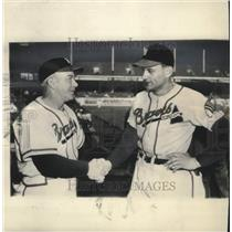 1948 Press Photo Boston Braves Marv Rickert is greeted Manager Billy Southworth.