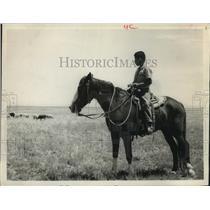 1965 Press Photo Young Navajo horseman tends sheep on reservation - hca43518