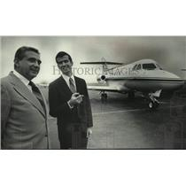 1972 Press Photo Allen K. Pepin (L) and Jack McFarlane with new corporate jet.