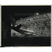 1975 Press Photo United Airlines Boeing 747 in for maintenance, San Francisco
