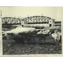 1976 Press Photo Chunks of ice at Lock # 9, Rotterdam Junction, New York