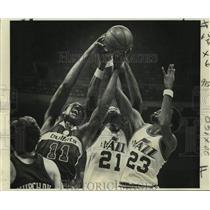 1977 Press Photo Washington Bullets and New Orleans Jazz play NBA basketball