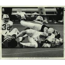 1977 Press Photo Tampa Bay Buccaneers and New Orleans Saints play NFL football