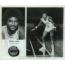 Press Photo Houston Rockets Basketball Player Dwight Jones in Defensive Pose
