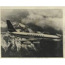 Press Photo The Northwest plane Boeing 720-B jet during a flight - lrx38631