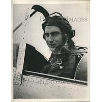 1952 Press Photo Prince Nicholas in cockpit of his plane at Fairoaks Airfield.