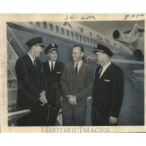 1964 Press Photo National Airlines Boeing 727 trijet maiden flight, New Orleans