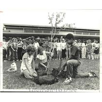 /**1979 Press Photo Memorial Drive Elementary students plant tree, Spring, Texas