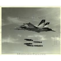 1981 Press Photo F18 Hornet in flight drops missiles - amra06390