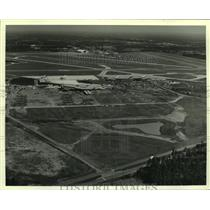 1986 Press Photo Aerial View of Terminal Construction at Mobile Airport, Alabama