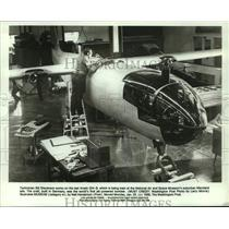 1988 Press Photo Bill Stevenson, Technician Working on Arado 234-B in Maryland